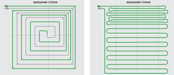 Когда тёплый пол - основная система отопления, трубы укладывают с шагом 100 или 200 мм, причём у стен...